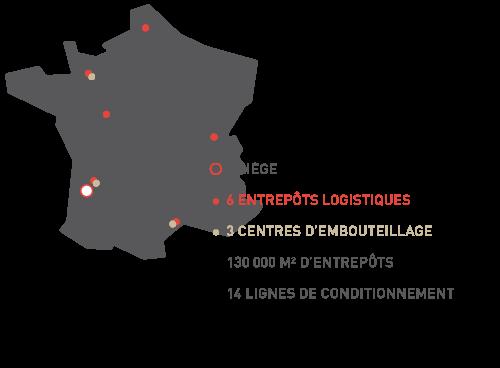 schéma de notre implantation en France